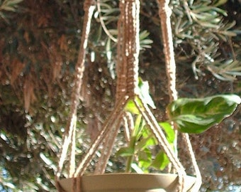 Macrame Plant Hanger Vintage Style 40 inch BEADED Sand 4mm Cord for a wide pot (Choose Color)