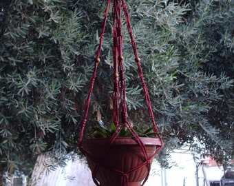 Macrame Plant Hanger Vintage Style 4mm, 36 inch Cranberry with BEADS