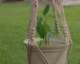 Macrame Plant Hangers Natural heavy Jute Vintage Style 34 inch with BEADS