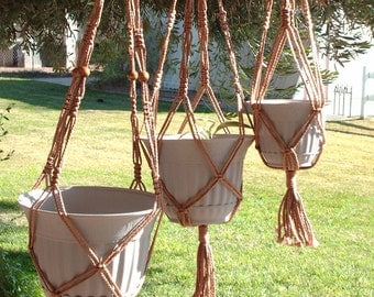 Macrame Plant Hangers Vintage Style 4mm TRIO 24 inch, 30 inch, and 36inch Cinnamon with Beads