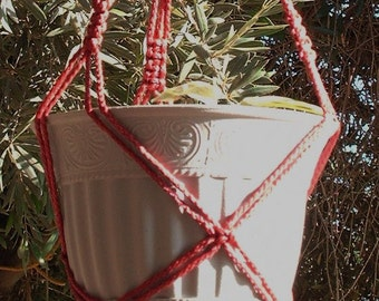 Macrame Plant Hanger Vintage Style 25 inch 4mm 3 Arm Cranberry