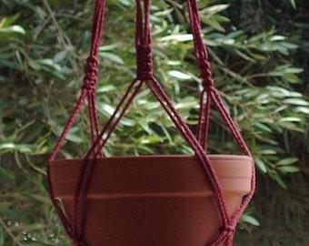 Macrame Plant Hanger Vintage Style 4mm, 31 inch 3 Arm Cranberry  (Choose Color)