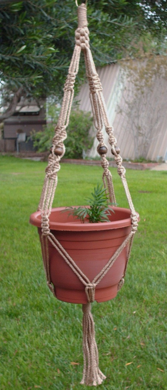 MACRAME Plant Hanger Vintage Style 40 inch Sand 6mm with BEADS