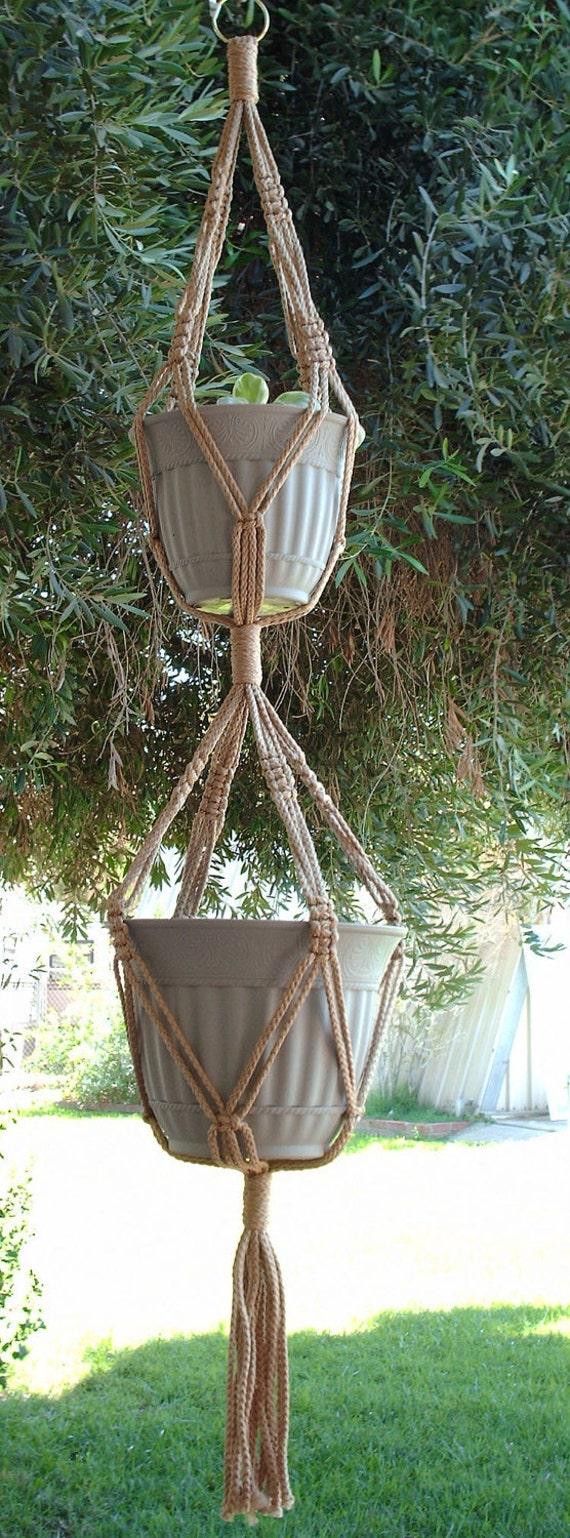 Macrame Plant Hanger 2-TIER 6mm  50in Sand (Choose Color)