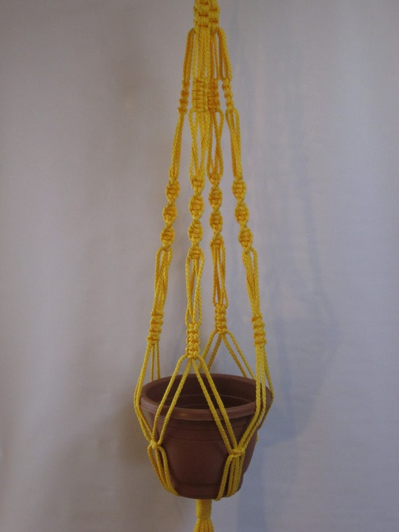 MACRAME Plant Hanger Vintage Style 40 inch 6mm  Sunshine Yellow
