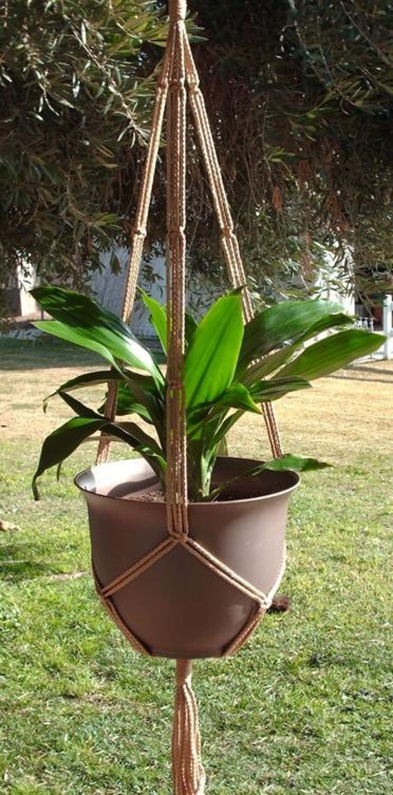 Macrame Plant Hanger 43in SIMPLE 3-ARM 6mm Sand