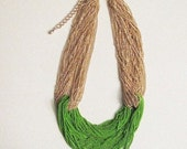 Chunky Green and Gold Chain Trendy Statement Necklace