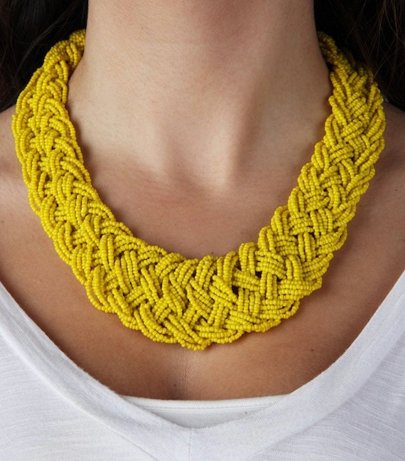Trendy Bright Yellow Beaded Bib Adjustable Statement Necklace