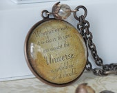 """Desiderata - """"The Universe is unfolding as it should - Large Brass Quote Pendant - Necklace - Sepia - Inspiration"""