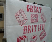 The Great British Biscuit Tea Towel - raspberry red