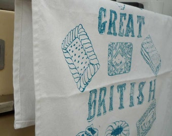 The Great British Biscuit Tea Towel- Turquoise Blue