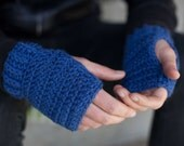 Urban Rhythms Royal Blue Crochet Fingerless Mittens with Ridging