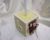 SALE.Extra large baby block docorated with a cheeky monkey and banana