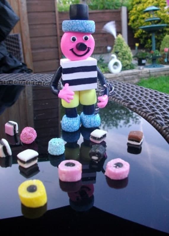 Quirky Licorice Allsorts Candy Figurine Cake Topper