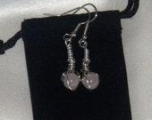 Rose Quartz Bead Drop Earrings