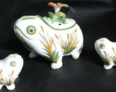 Antique ESTE Porcelain China Funky Frogs with Flowers  -can hold plants, kitchen, utensils, candy, cosmetics, food, candies, whatevs