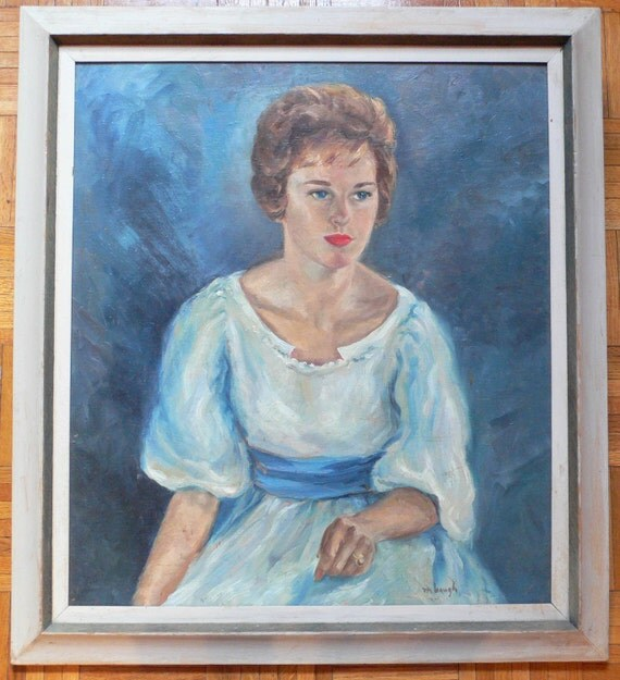 On Sale - Gorgeous 50s 60s Signed Oil Painting Portrait of Romantic Woman -- beautiful colors, much more vibrant in person