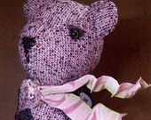 """Little """"Tindy Windy """" Teddy Bear made from Vintage Tweed and Crushed Velvet"""