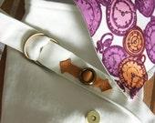 Kindle Nook eReader Case/ Small  Bag Ticking Clock Purple and Orange