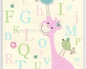 Baby girl wall art Nursery Decor Children room birds giraffe alphabet..Light blue green pink ABC