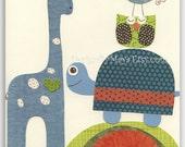 Baby boy room Nursery wall art print Baby Room Decor Giraffe turtle baby owl ...Jeff with friends