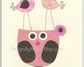 Nursery wall art, Children Art print, birds, baby owl...Birds on my head..