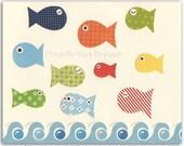 Nursery Decor, Art for Kids Room, Nursery wall art, Baby room print..sea..Fish, match to the colors of baby boats nursery bedding