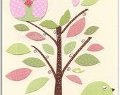 Baby girl nursery, Nursery wall art print, Baby room decor, owl & bird..light pink light green match to the colors of Hayley, children deco