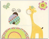 Baby girl Room Decor, Nursery Art, giraffe, ladybug, butterfly...Pretty Ladybug, pink, yellow, green