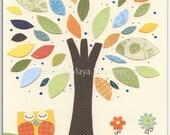 Baby boy, Nursery Art Decor, Kids Print, neutral colors.. tree, baby owl, orange, blue, green and yellow