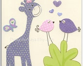 Baby girl Room Decor, Nursery wall Art prints, purple giraffe, vertical clover..match to the colors Gabrielle bedding,LuLu by Sweet Potato