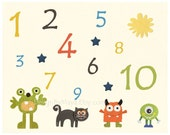 Baby room wall art, Nursery Art Decor, Kids Print, monsters...numbers..blue, green, red, turquoise monster..baby boy nursery