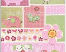 Baby girl, Nursery wall art print, Baby room decor, love bird, elephant, owl, turtle, ..light pink light green..hayley bedding set