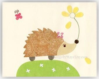 Baby Room Decor Nursery Art,  hedgehog Nursery Art Decor, hedgehog Print, Baby room wall art, tan green yellow