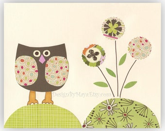 Baby Nursery Art Decor...Flowers make me feel so good, green and brown, baby owl, neautral colors