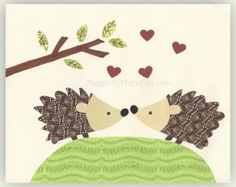 Nursery Art Decor Kids Print Animals...The Hedgehogs are in Love