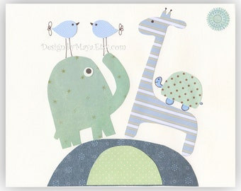 Baby boy Nursery Art Decor Kids Print Animals ...Dancing