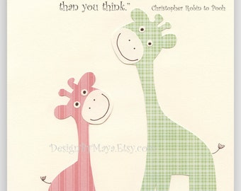 Winnie The Pooh Quote: Promise Me You'll Always Remember, Pink and Green Giraffe Nursery, Baby Girl Room Decor Nursery Art, Pink and Green