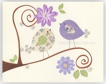 Baby Room Wall Art - Nursery Wall Art Prints Featuring Love Birds In Purple, Birds And Flowers Baby Wall Art - 8x10 Print In Purple Green