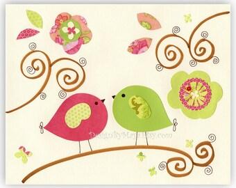 Nursery Decor girl, Art for Kids Room, birds..I Love you I love everything