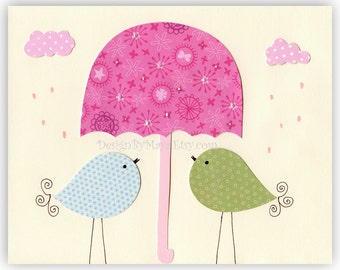Baby Room Decor Nursery Art Birds ...Singing in the rain