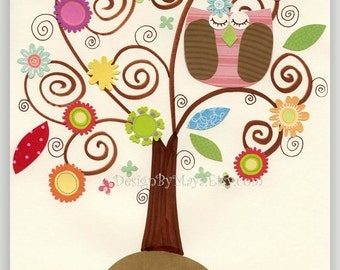 Baby girl room, Kids Print, Nursery wall Art, baby girl Decor, Owl...The rainbow tree