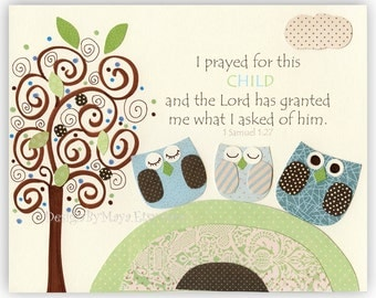 Nursery wall art Decor Children Art print I prayed for this CHILD and the Lord Owl theme nursery match to Catherine Light Blue Green Cream