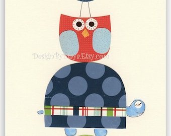 Baby room art wall decor Nursery Decor Art for Kids owl turtle bird..Red Blue Green hill