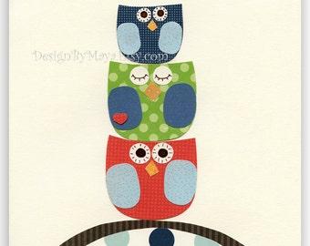 Baby room Nursery wall art Decor Art for Kids owl nursery..Large Medium Small