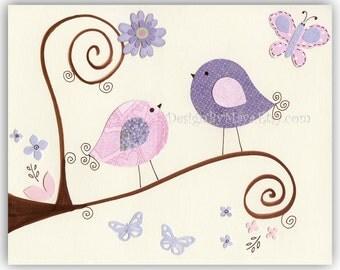 Baby Girl Room Decor, Nursery wall Art Prints // Love Birds, Butterflies, Flowers // Pink Purple Art // Gabrielle Bedding Set // 8x10 Print