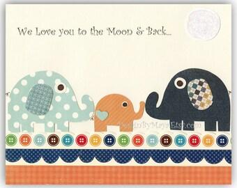 Baby boy room Nursery print wall art Elephant ...We love you to the moon and back...dark light blue orange