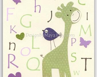 Nursery wall art, Baby girl Room Decor, birds..Violet Green ABC