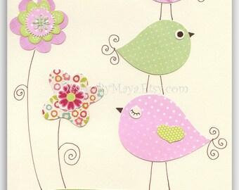 Nursery Print Art Decor Kids Print Animals birds...light pink light green flowers