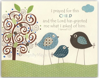 Baby Boy baptism, Nursery wall art Decor, baby boy room art, birds...I prayed for this CHILD.. Lord has..of him